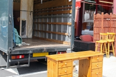 Open Rear End of Furniture Moving Truck